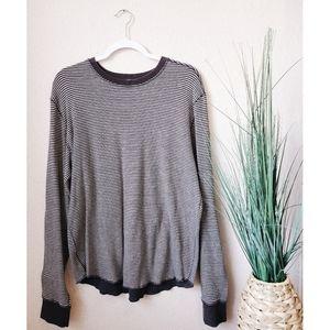 LULULEMON Gray Striped Reversible Sweater Top